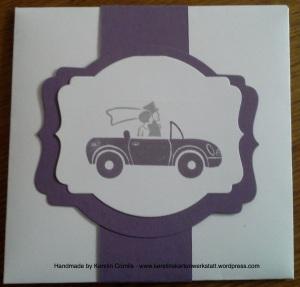Hochzeit lila Umschlag auto