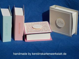 Kleine Box im Buchformat kann kleine Rittersport oder Hanuta beinhalten