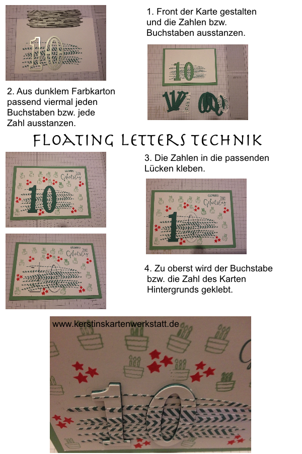 Bebilderte Anleitung für die Floating Letters Technik