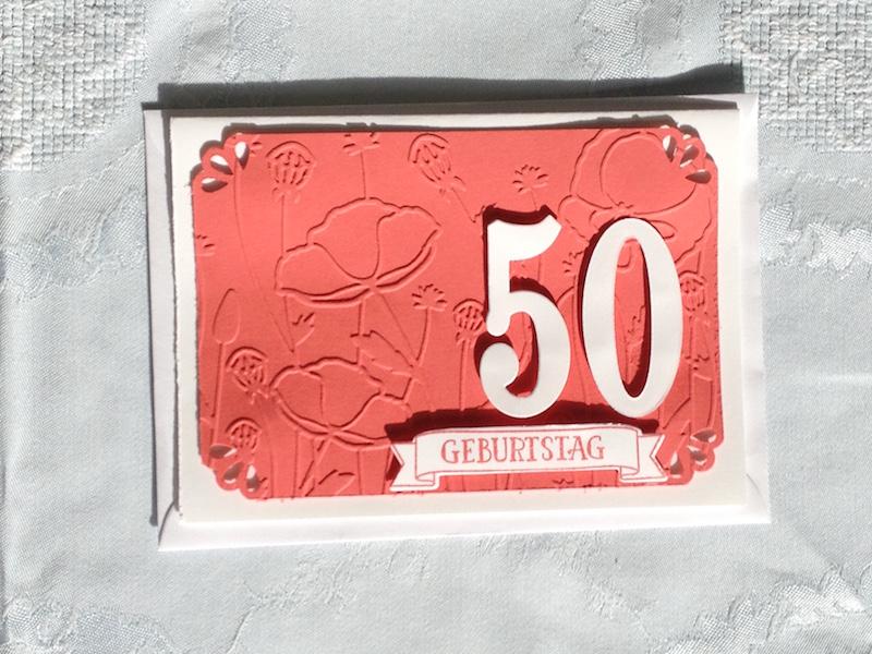 Karte zum 50. Geburtstags. Mit Produkten von Stampin Up gebastelt
