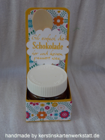 Mini Nutella Gläser verpackt mit Papier von Stampin Up