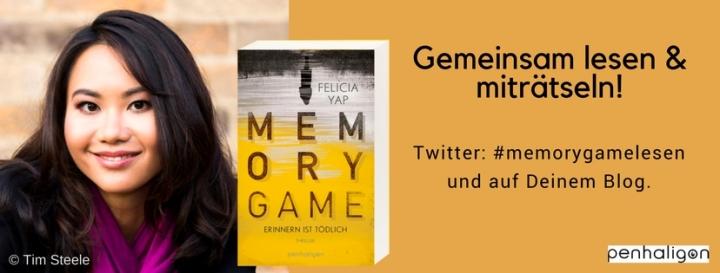 Banner: Leseaktion zum Roman MEMORY GAME von Felicia Yap