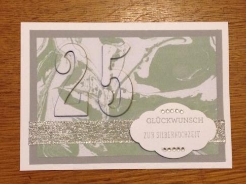 Karte zur Silbernen Hochzeit mit der Floating Letters Technik