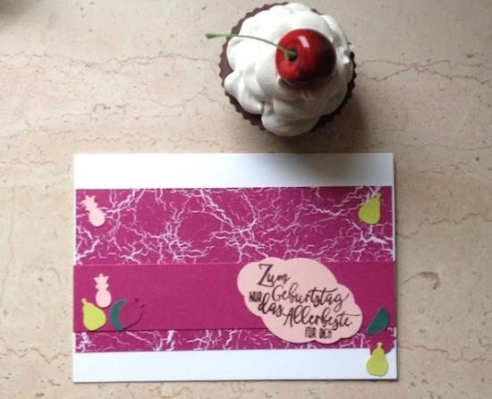 Geburtstagskarte mit dem Stempelset Perfekter Geburtstag und den Stanzen Freche Früchtchen