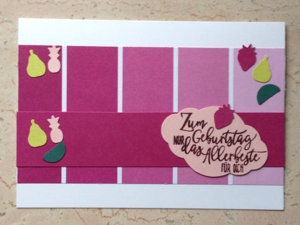 Geburtstagskarte mit dem Stempelset Perfekter Geburtstag und den Stanzen Freche Früchtchen von Stampin Up