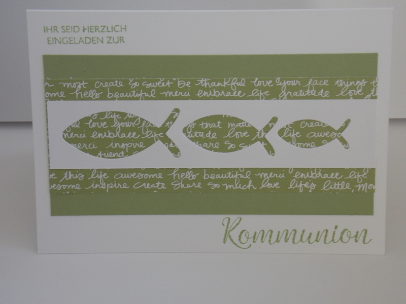 Einladungskarte zur Kommunion in Farngrün und Flüsterweiß von Stampin Up