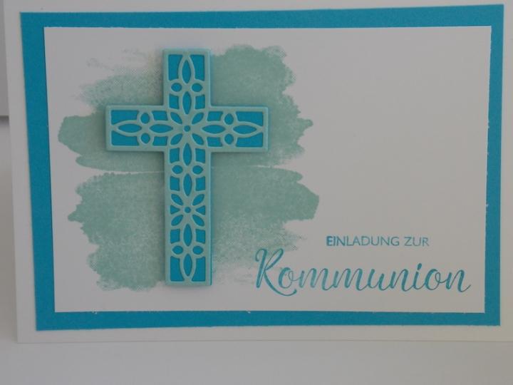 Einladungskarte zur Kommunion mit Produkten von Stampin Up