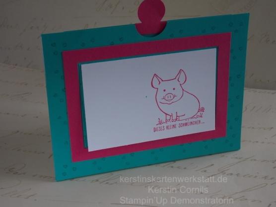 Konfetti- Ziehkarte mit Schweinchen und Pailletten