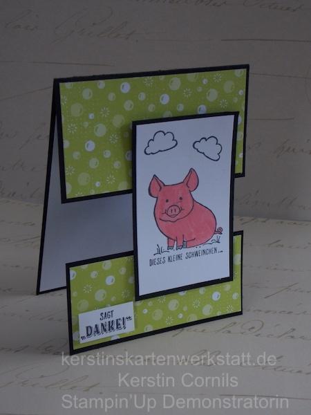 Eine Grußkarte mit Reststücken und Schweinchen