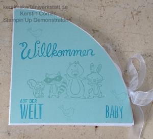 Cirlce Fold Up Card zur Geburt eines Jungen gestaltet von Kerstin Cornils mit Stampin Up Produkten