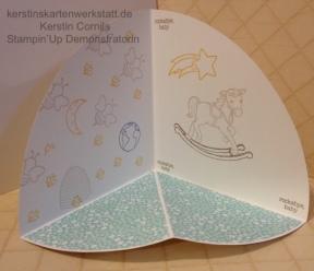 Gestalteter Rohbau einer Circle Fold Up Card von Kerstin Cornils