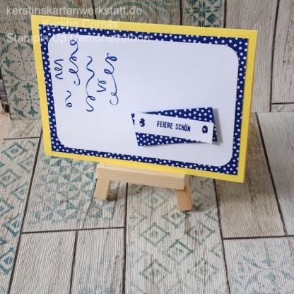 Geburtstagskarte in den Farben Ananas und Kussrot bzw. Blaubeere mit dem Stempelsets: Birthday Backgrounds und Klitzekleine Grüsse von Stampin Up