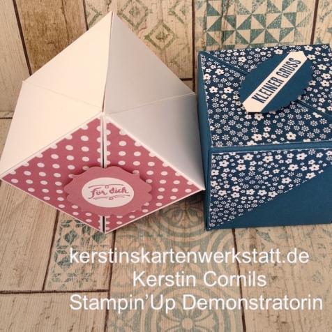 Box mit Flügeln 7 x 7 cm in blau und rosa