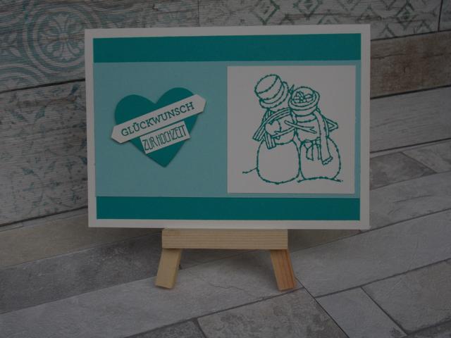 Hochzeitskarte Schneemann Brautpaar