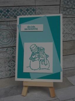 Hochzeitskarte Schneemann Brautpaar 2