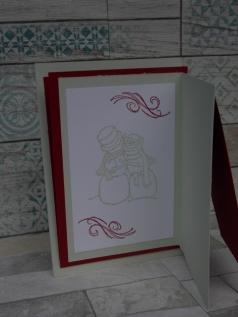 Weihnachtskarte gestaltet mit dem Stempelset Spirited Snowmen von Stampin Up, Weihnachtskarten basteln
