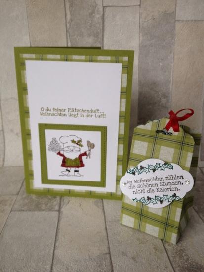 Weihnachtskarte Bäcker und Box