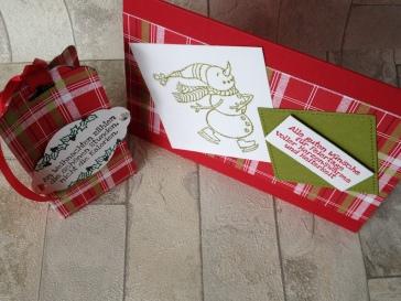 Weihnachtskarte Schlittschuh und Box