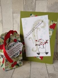 Weihnachtskarte Schneemann und Box
