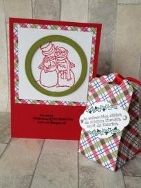 Weihnachtskarte Schneepaar und Box