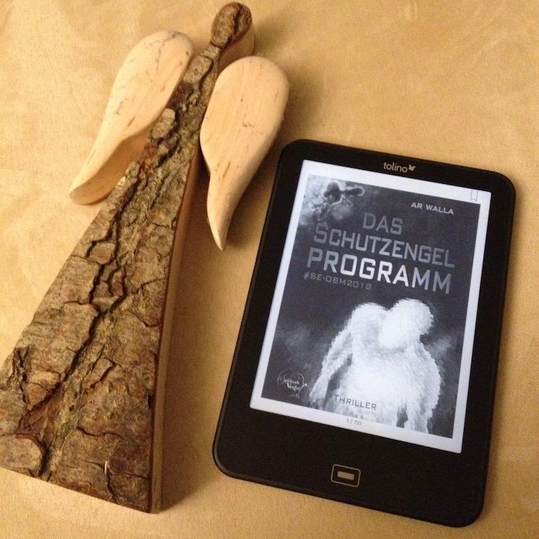 """Foto vom Buchcover auf dem Ebook- Reader mit Engel von """"Das Schutzengelprogramm"""" von AR Walla"""