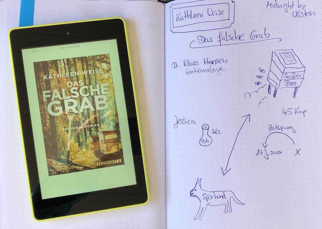 """Ebook """"Das falsche Grab"""" von Kathleen Weise mit kleinem Sketchnote zum Roman."""