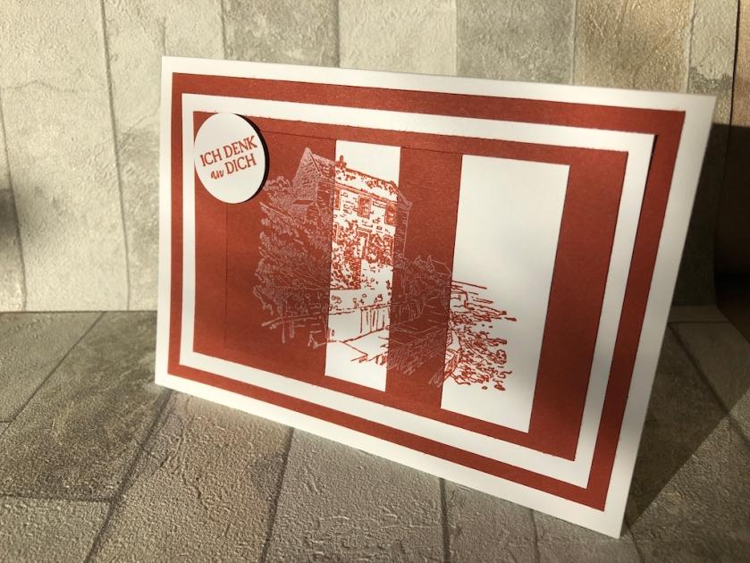 Karte mit Negativ Technik mit dem Spruch: Ich denk an dich.