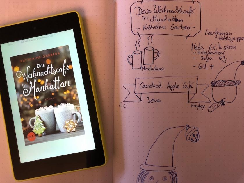 Ebook: Das Weihnachtscafé in Manhattan von Katherine Garbera mit Sketchnote zum Roman von Kerstin Cornils