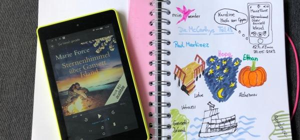 Sketchnote zum Hörbuch: Sternenhimmel über Gansett Island von Marie Force