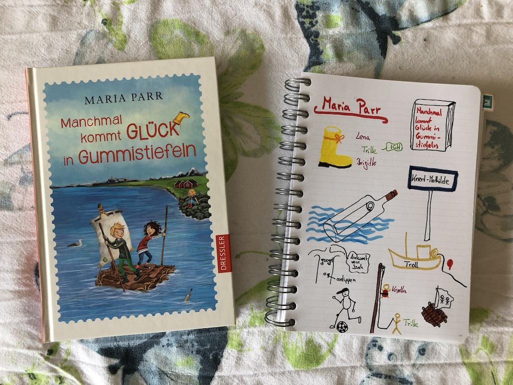 Manchmal kommt Glück in Gummistiefeln von Maria Parr Sketchnote und Buch