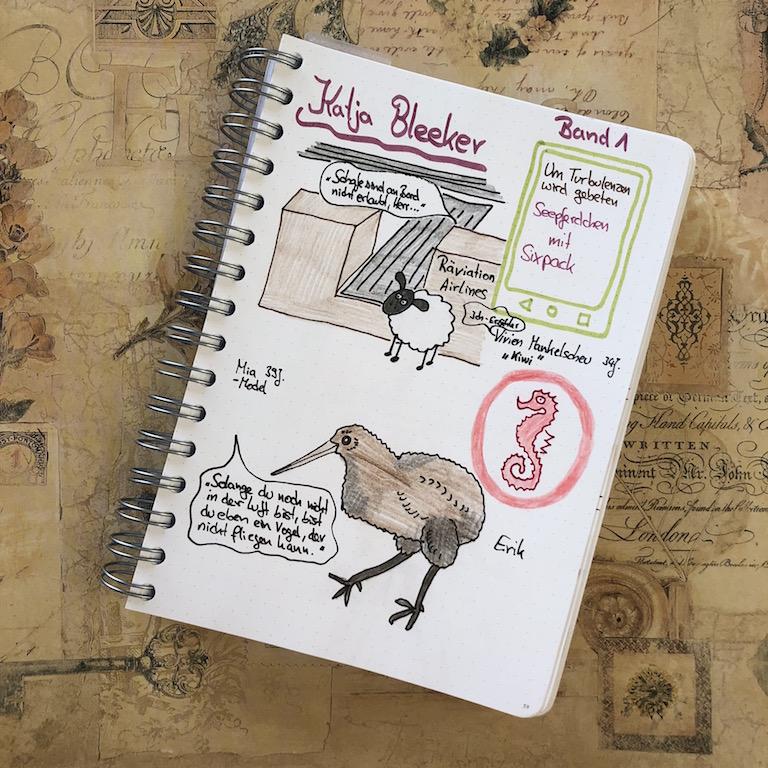UTwg Seepferdchen mit Sixpack von Katja Bleeker Sketchnote zum Buch