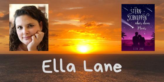 Sonnenuntergang über dem Meer mit dem Foto von Ella Lane und ihrem Buch Cover Sternschnuppen über dem Meer