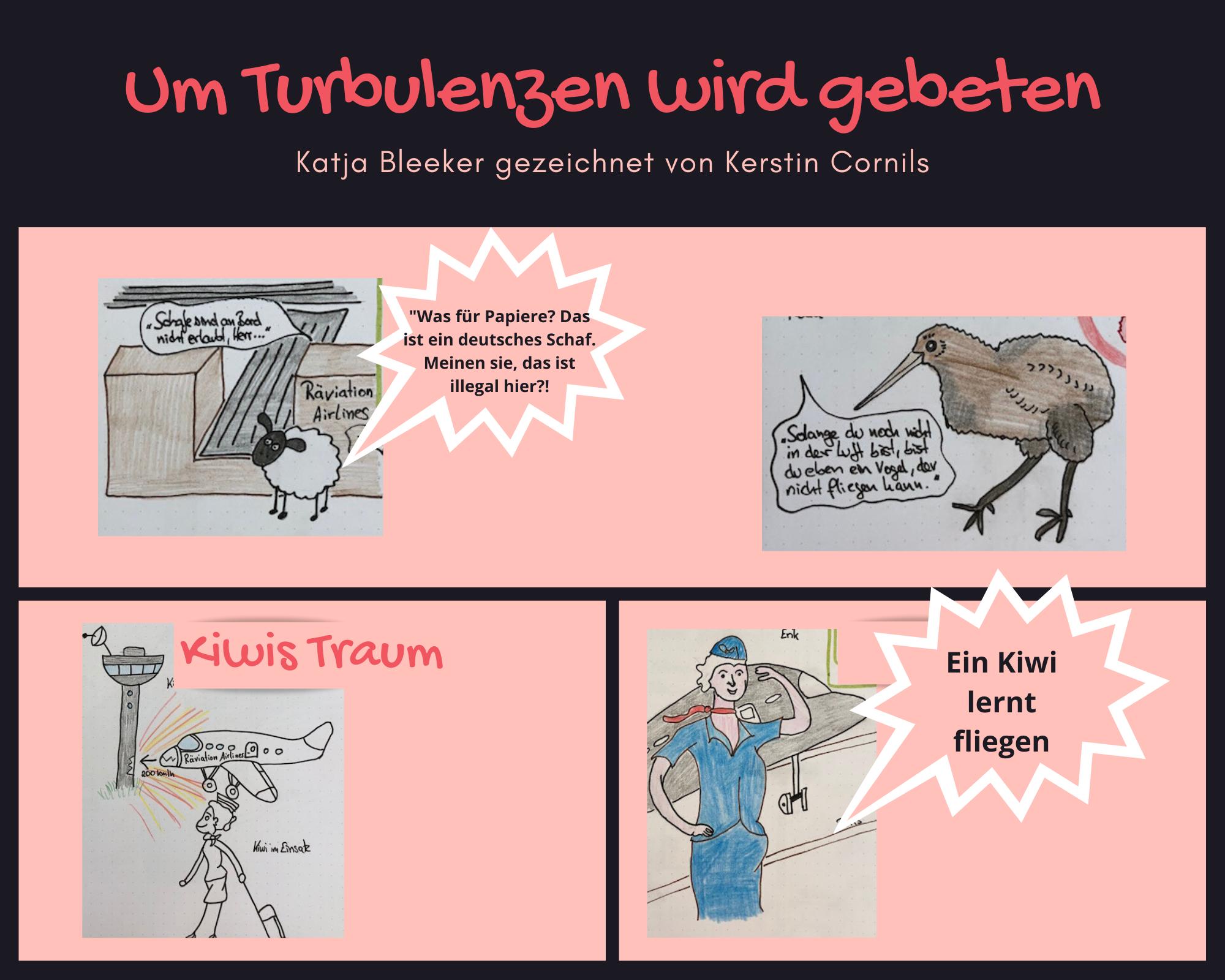 Skizzen von Kerstin Cornils zu der Buchreihe von Katja Bleeker Um Turbulenzen wird gebeten