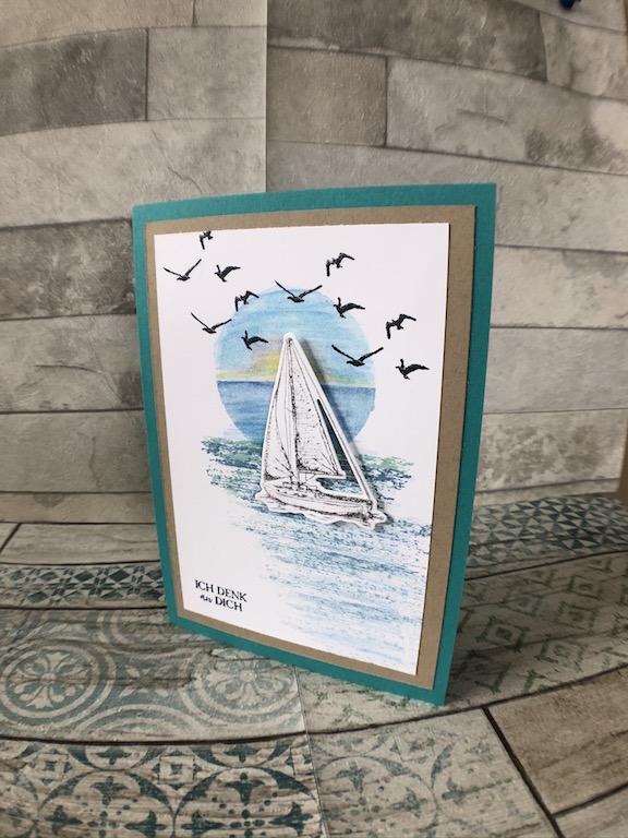 Grußkarte mit Segelboot und Möwen
