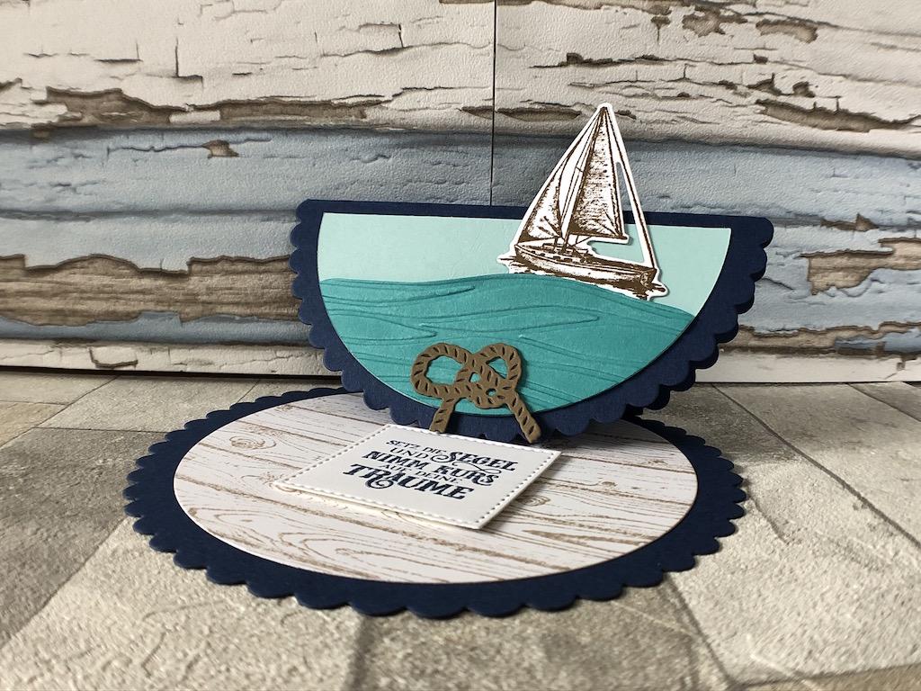 Easelcard Rund mit Segelboot