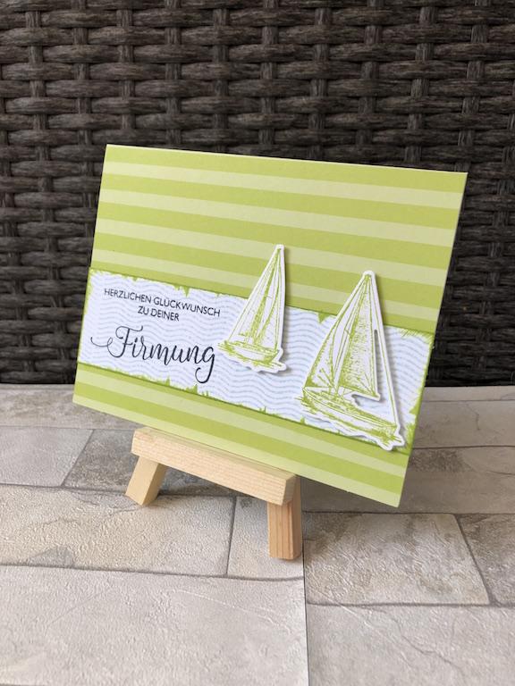 Glückwunschkarte zur Firmung mit Segelboot