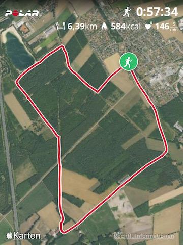 Karte von Kerstins Laufstrecke im Holdorfer Wald