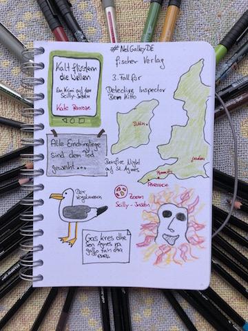 Kalt flüstern die Wellen von Kate Penrose Sketchnote zum Buch