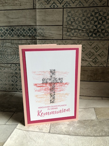 Kommunionkarte in Blütenrosa Kreuz