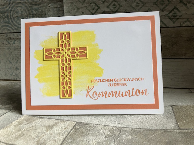 Kommunionkarte in Grapefruit Kreuz