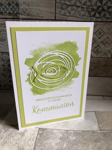 Kommunionkarte in Limettengrün Fisch