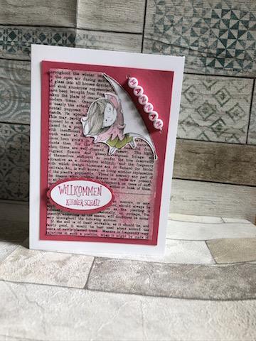 Babykarte für Hanna mit Kette und New Wonders