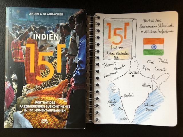 Indien 151 von Andrea Glaubacker Buch und Sketchnote