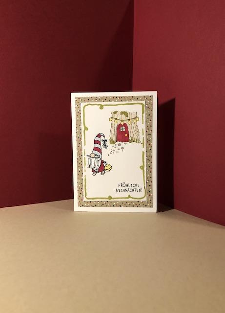 Weihnachtskarten 2020 Weihnachtswichtel mit Laterne