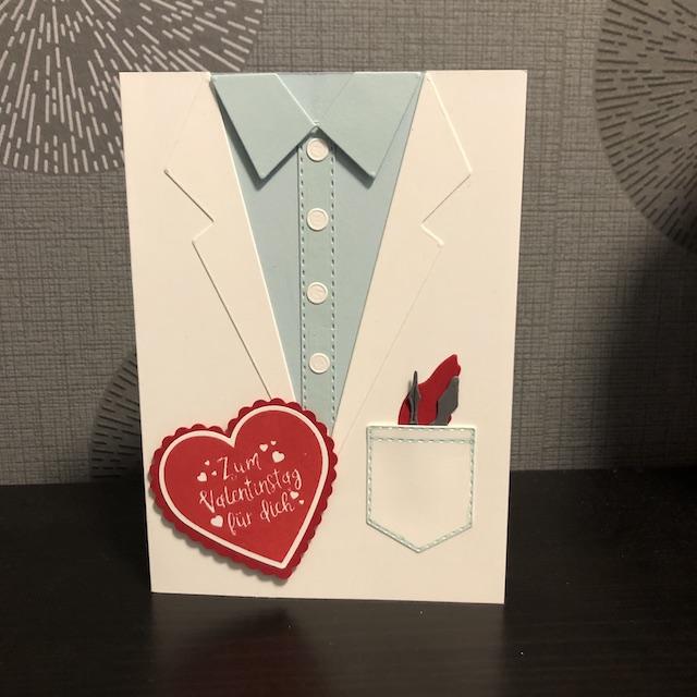Apotheken Karte mit Stanzformen Anzug und Krawatte zum Valentinstag