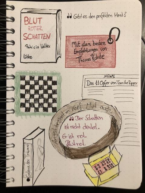 Eine Seite aus dem Book Journal zum Thriller: Blutroter Schatten von Patricia Walter zu sehen ist das Sketchnote zum Buch als Bild für die Rezension