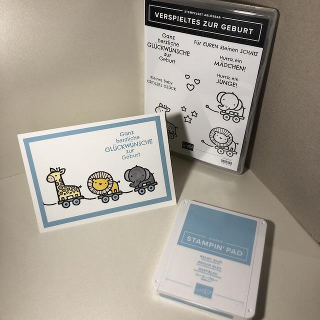 Babykarte zur Geburt mit dem Stempelset Verspieltes zur Geburt für Junge