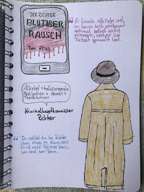 Zu sehen ist ein gezeichnetere Trenchcoat samt Hut. Daneben finden sich noch zwei Zitate aus dem Buch: Blutiger Rausch: Der Richter von Ben Elias.
