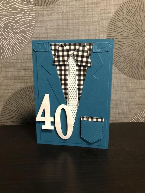 Geburtstagskarte in Petrol zum 40. mit Schlips