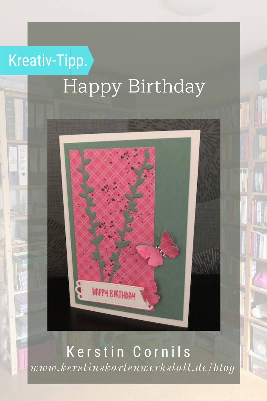 Happy Birthday InColor 2021-23 Karte zum Geburtstag in den Stampin Up Farben Seladon und Bonbonrosa